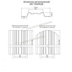 Штакетник металлический МП TRAPEZE-T 16,5х118 (ECOSTEEL-01-Лиственница-0.5)